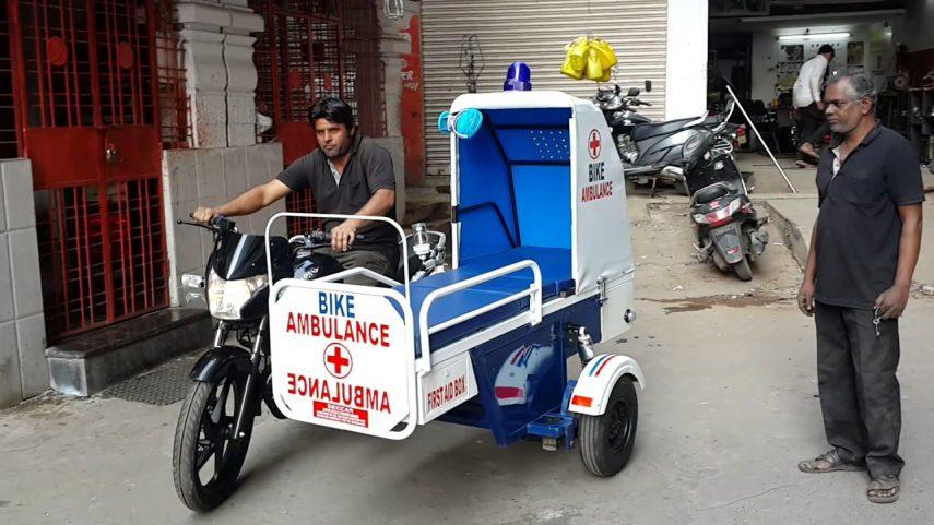 Hero construye motos ambulancia para ayudar a trasladar enfermos